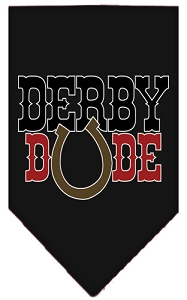 Derby Dude Screen Print Bandana Black Large